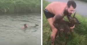 Po tom, ako zachránil jeleňa z ľadovej rieky použil vlastné oblečenie, aby úbohé zviera zahrial