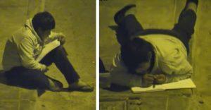 Chlapec bol nútený robiť si svoje domáce úlohy na ulici. Keď to uvidel milionár, rozhodol sa zakročiť
