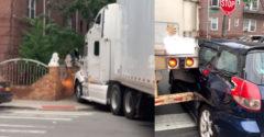Vodič kamiónu sa pokúsil obrátiť v malej uličke