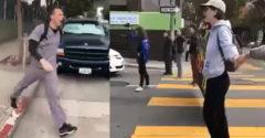Skupina aktivistov sa postavila na prechod a zablokovala ulicu. Vynervovaný chalan ich zhromaždenie rozpustil