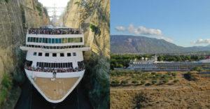 Výletná loď široká 22,5 metra sa dokázala preplaviť cez Korintský prieplav v Grécku