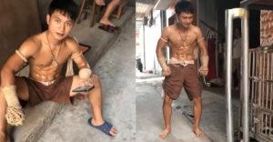 Thajský boxer predviedol svoje nerozbitné holene (Ohol kovovú trubku)