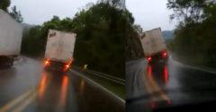 Pri schádzaní z kopca mu odišli brzdy. Dážď a šmykľavá cesta šoférovi nákladiaku tiež nepomohli