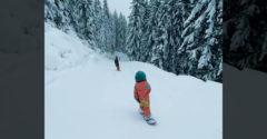 Senzáciou zjazdovky sa stalo 4 – ročné dievčatko na snowboarde