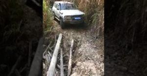 Profesionálny vodič sa rozhodol prejsť po tenkej drevenej kláde