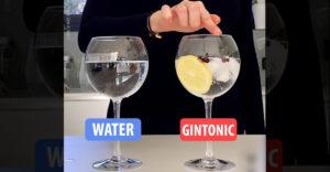Obyčajná voda vs. gin tonic (Hranie na pohári)