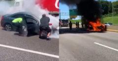 Neznámy muž zariskoval a vytiahol vodiča z horiaceho auta (Hrdina roka)