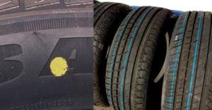 Aký význam majú v skutočnosti farebné pruhy a bodky na pneumatikách?