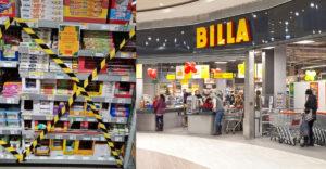 Supermarket alebo miesto činu? V maloobchodoch oblepili páskou aj regály s vreckami do smetného koša či alobalom