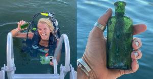 Počas potápania našla fľašu s odkazom starú takmer 100 rokov. Čo stálo na kuse papiera?