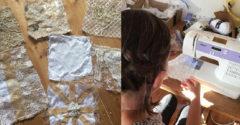 Z kusov látky, ktoré dostala od blízkych, ušila svadobné šaty. Výsledok prekvapil aj samotných hostí